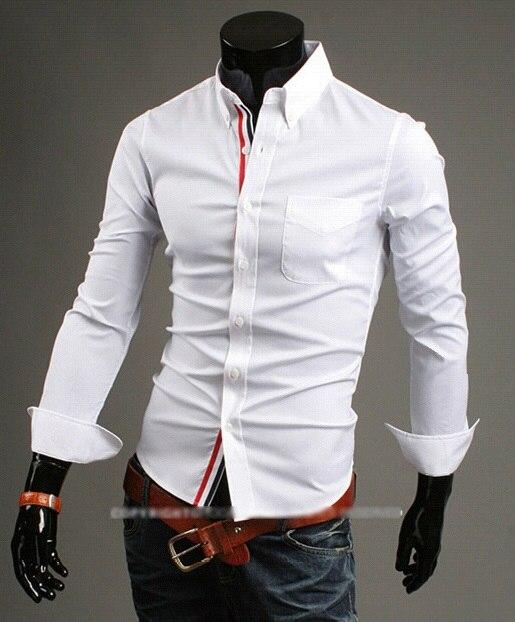 6044c15023b5 2015 Hot Mens Designer Shirts Slim Fit Turn down Collar Cotton Korean Shirt  Men White Black Red 3XL camisa masculina manga longa-in Dress Shirts from  Men's ...