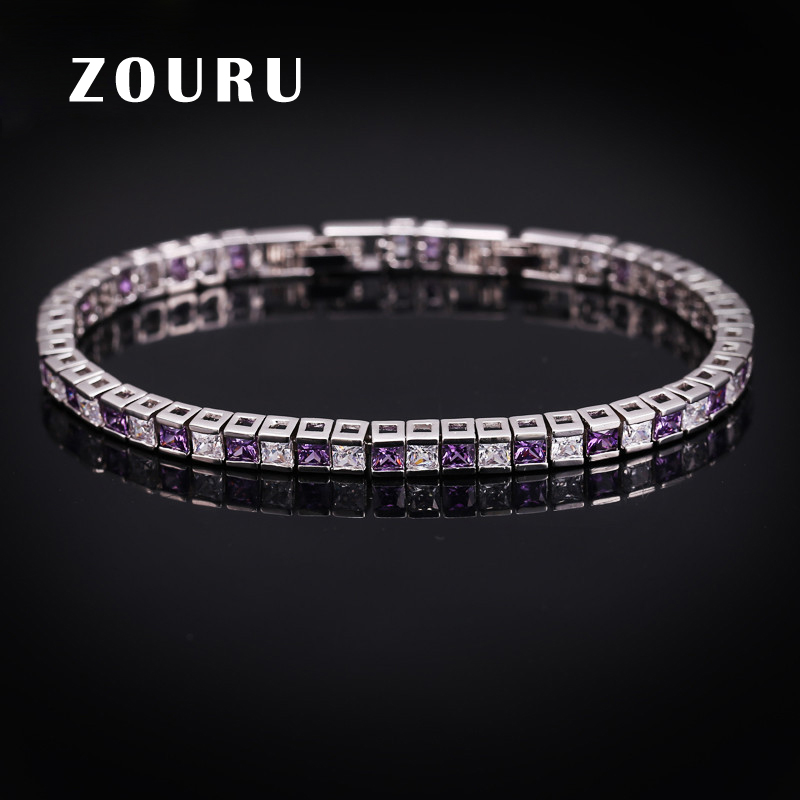 ZOURU Brand Quality Trendy Charm CZ Paved Bracelet White Gold Plate Bangle Friendship Bracelet for Women Jewelry Free Shipping