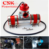 30PSI Blow Off Valve BOV +Type RS 2.5 Flange Pipe Adapter Silicone hose kit Black / Blue / Silver