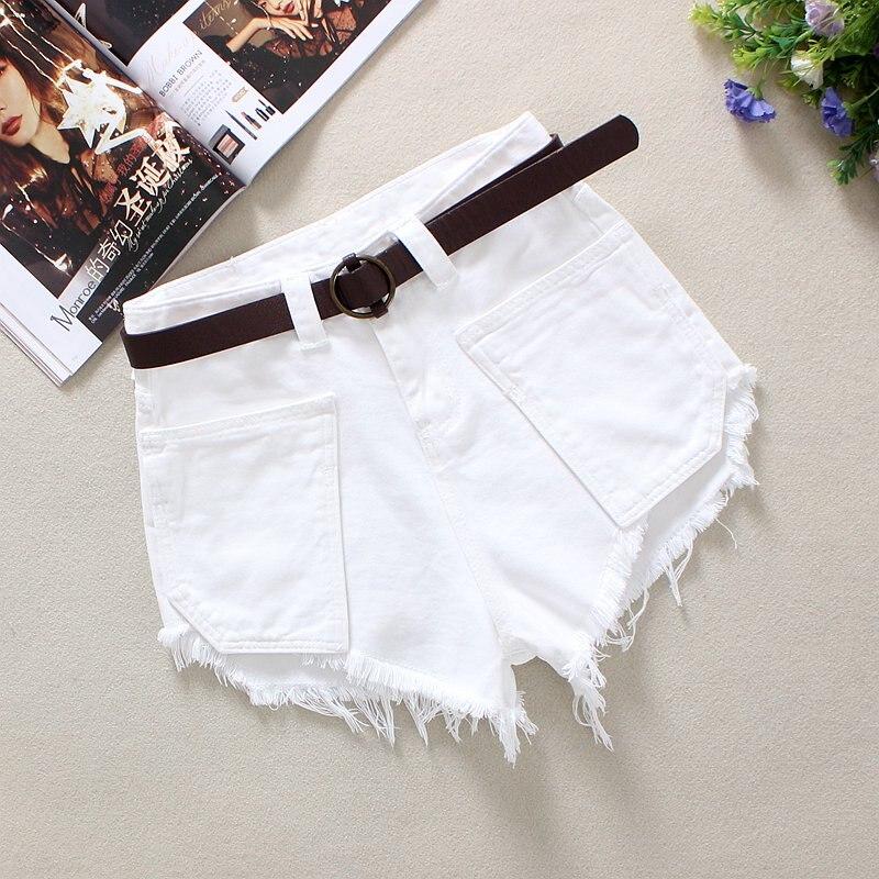 Womens Summer High Waist Denim Shors Tassel Big Pockets Fashion Female White Cotton Shorts Jeans S/2XL Solid Denim Shorts D312