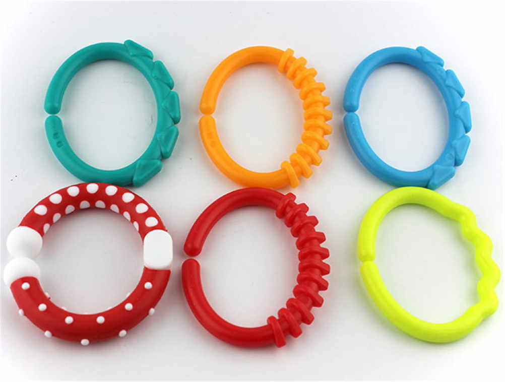 TOYZHIJIA 6PCS Colorful Rainbow Rings Baby Teether Toy Crib Bed Stroller Hanging Rattles Toy Decoration Educational Gift Doll