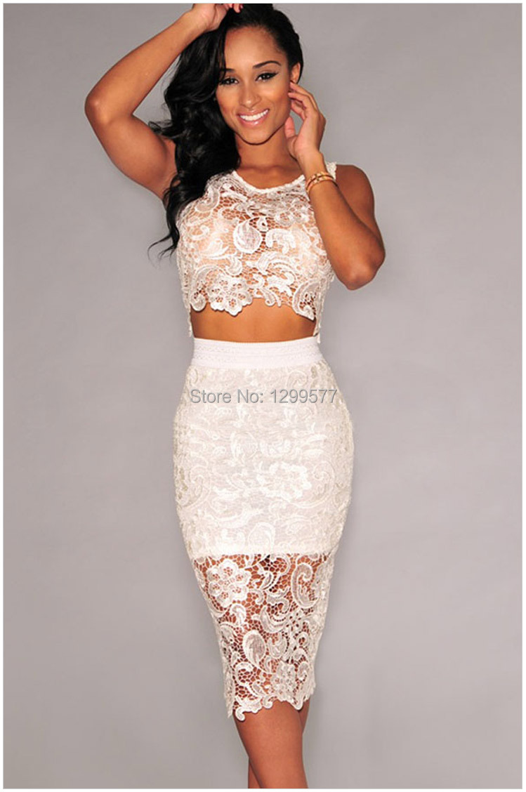 Lace top dress white