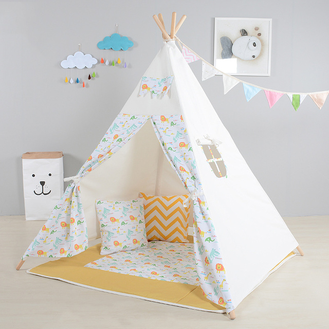 Kids Play Tent Cute Lion Pattern Playhouses For Children Indoor Cotton Canvas Funny Teepee For Baby : baby tent - memphite.com