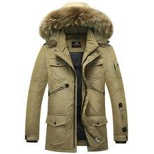 2017 зимние Для мужчин пуховая куртка ветрозащитный зимний мужской пуховик  большой меховой воротник на крышке M 195441a89db