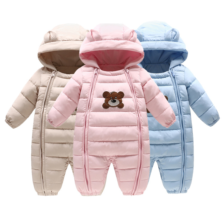 0~12M Winter Warm Cotton Newborn Baby Romper Boy Clothes Bebe Onesie Infant Costume Bear Hooded Jumpsuit Bebek Giyim Creepers