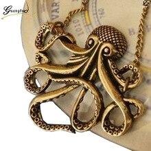 Винтажное ожерелье с подвеской Осьминог для женщин, океанское пляжное ювелирное изделие, модное длинное ожерелье с цепочкой