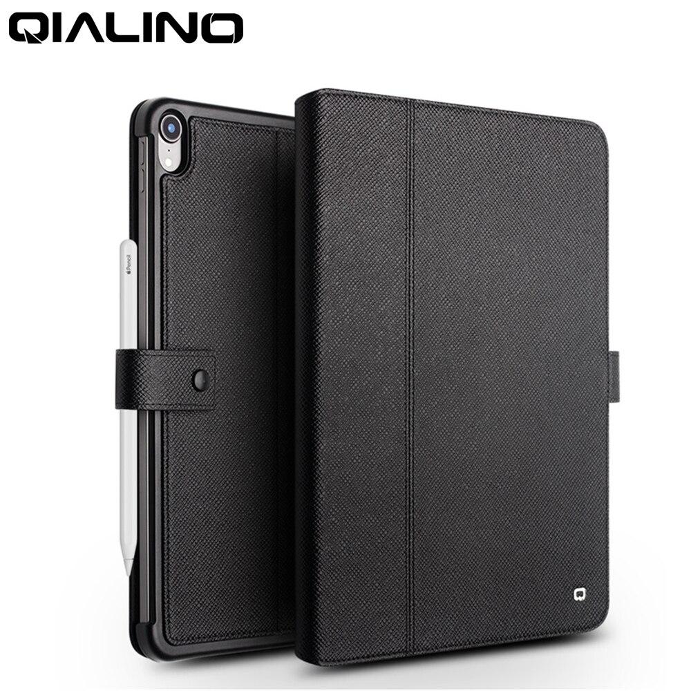Qialino étui pour ipad Pro 12.9 2018 ultra-mince en cuir véritable Stents à rabat dormance Stand couverture fente pour carte étui pour ipad Pro 11
