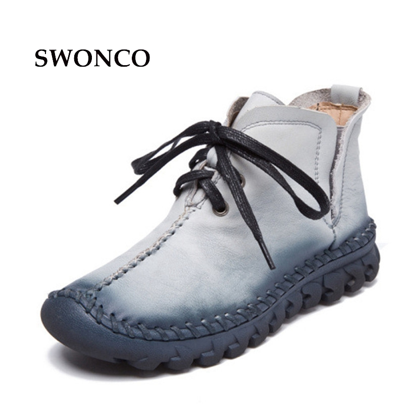 2017 New Winter Women Retro Boots Handmade Ankle Boots Flat Boots Real Genuine Leather Shoes Women Non Slip Warm Shoes 2017 new autumn winter british retro men shoes zipper leather breathable sneaker fashion boots men casual shoes handmade