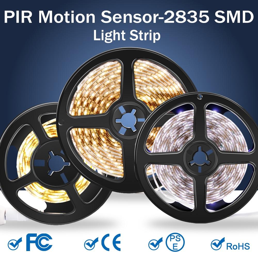 Wireless Motion Sensor LED Strip Light 5M USB Fita LED Strip Lamp Tape TV Under Bed Cabinet Closet Wardrobe Stairs Night Light(China)