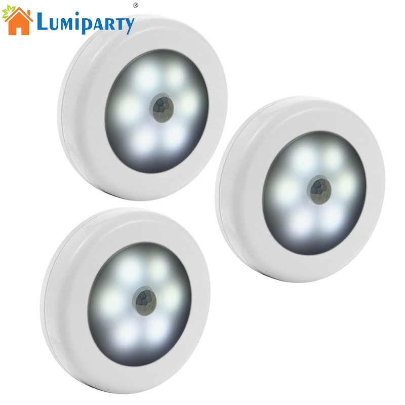 LumiParty 3Pcs Motion Sensor LED Night Light Battery Powered Stick Anywhere Wall Light For Hallway Closet