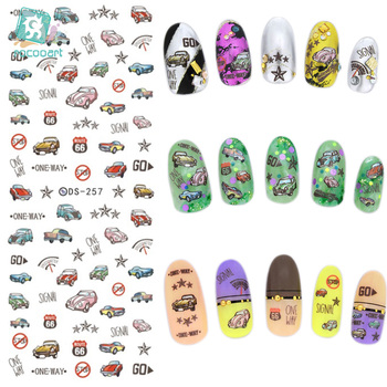 Rocooart DS257 DIY Nail Water Transfer Nails Art Sticker Retro Cars Elements Nail Wraps Sticker Watermark Fingernails Decals image