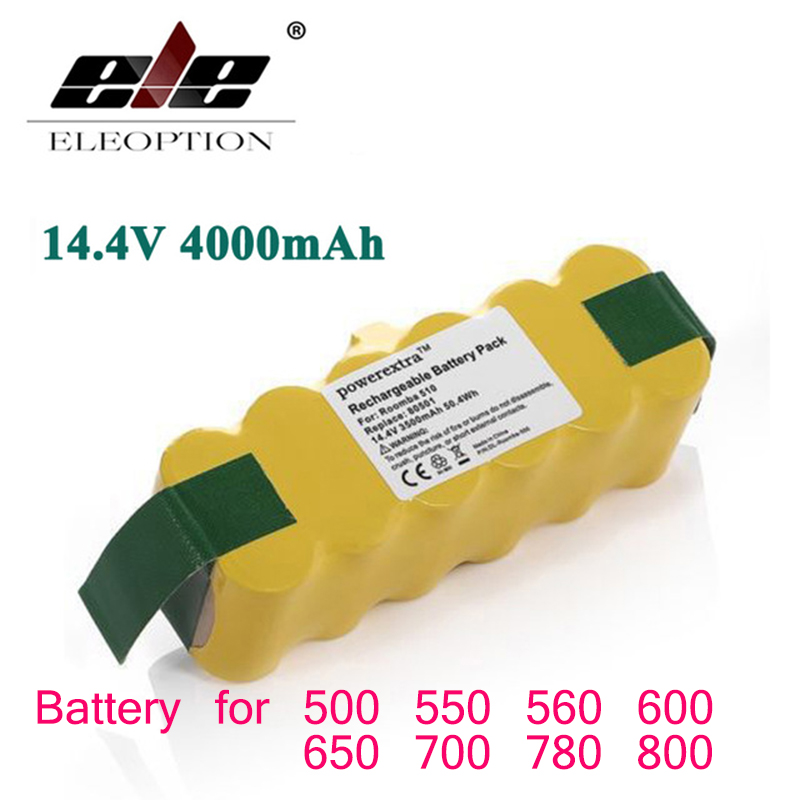 ELEOPTION 14.4V 4000mAh For iRobot Roomba Battery Ni-MH Vacuum Cleaner Rechargeable Battery for 500 550 560 600 650 700 780 800 6 sunflower style silicone diy mold for cake and more green