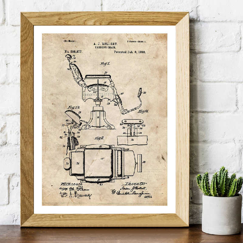 1898 Barber Chair Patent Prints and Posters Barbershop Wall Art Decor Vintage Canvas Painting Pictures Blueprint Barber Gifts