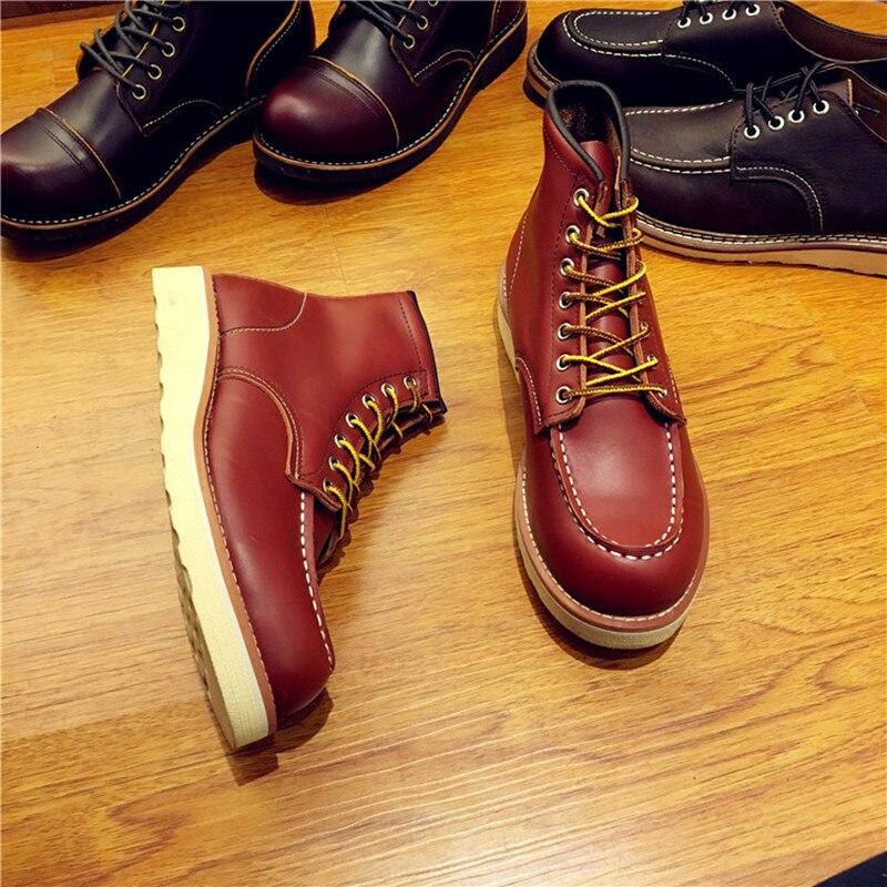 Винтажные мужские ботинки из натуральной кожи на шнуровке мужские рабочие свадебные ботильоны ручной работы повседневные модные красные б... - 5