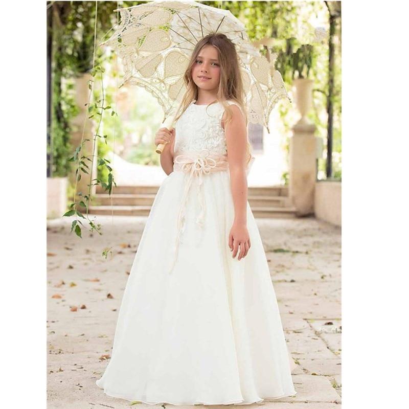 41996138a493 Vestiti Prima Comunione Per Bambine Girls Custom Dress Cap Sleeve Flower  Girl Dress White Organza Pageant Dress Patterns-in Flower Girl Dresses from  ...