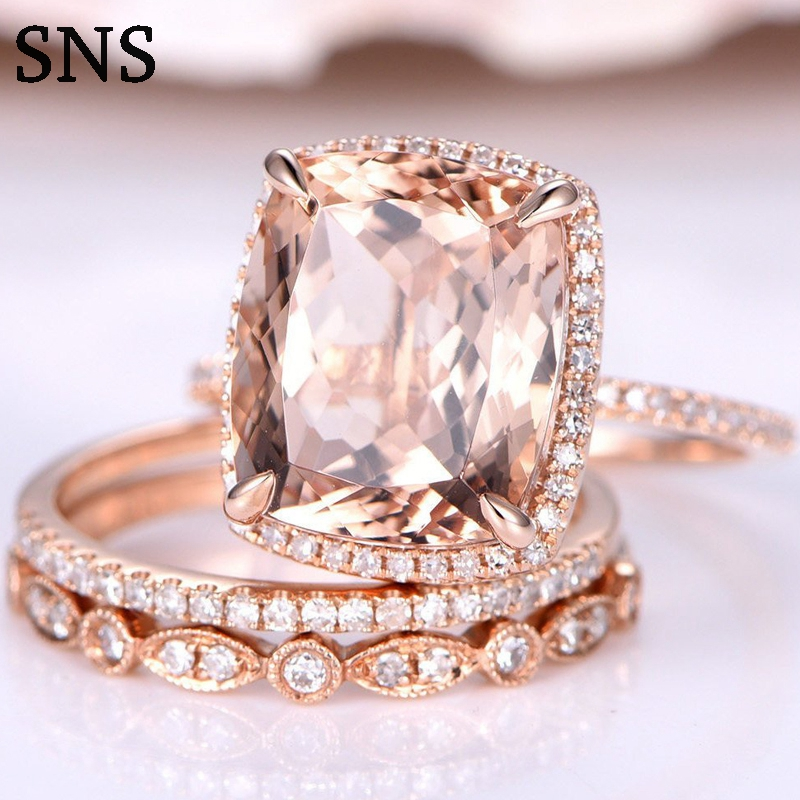 4.2carat 12*10mm Real Natural Morganite Engagement Ring Set Solirate With Moissanite EF Color 14k Rose Gold For Women