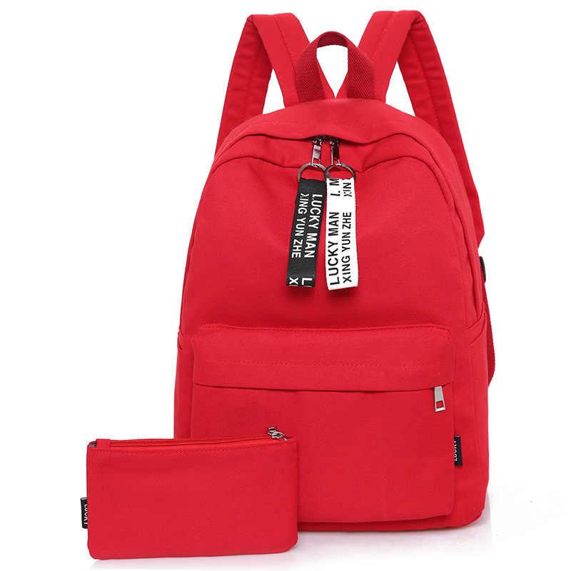 2b2c29491b08 2019 New teenager canvas backpack schoolbag girl black rucksack casual  backpacks set of bag with pencil