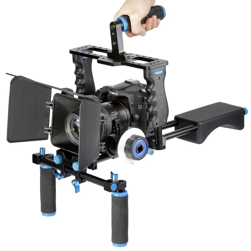 DSLR Video Stabilizer Shoulder Mount Rig+Matte Box+Follow Focus+Cage for Canon 5D Mark III 5D2 60D 70D 7D 6D DSLR Camera 2016 new koolertron hand grip handle shoulder mount rig follow focus adjust platform matte box sunshade for dslr cannon nikon