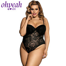 Ohyeahlover Sexy Bodysuit Lace Combinaison Femme Plus Size Body Women RM80285 Embroidery Push-up Cup Playsuits And Jumpsuits(China)