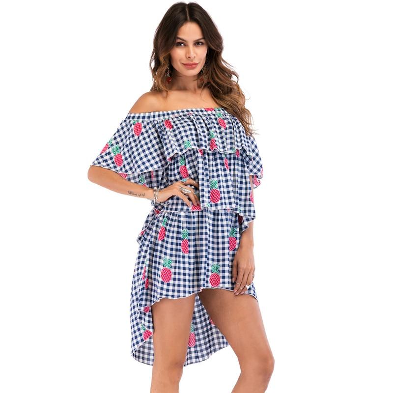 2018 New Plus Size Women Off Shoulder Bohemian Dress Chiffon Casual Loose Flower Floral Feather Print Shirts Dresses 42CS2811