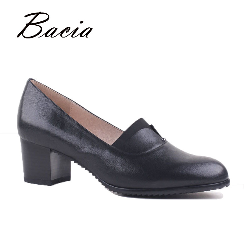 Bacia Vintage Office Geunine Black Sheepskin Leather Pumps Thick Medium heels Round Toe Formal Shoes Ladies Business Shoes VD008