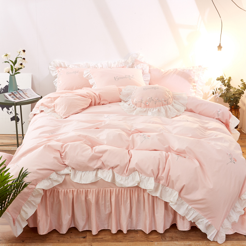 Lovely Princess Style Pink ruffles Bed skirt Pure Cotton Fabric Bedding Set Duvet Cover Bed Linen Bed Sheet Pillowcases 3/4Pcs