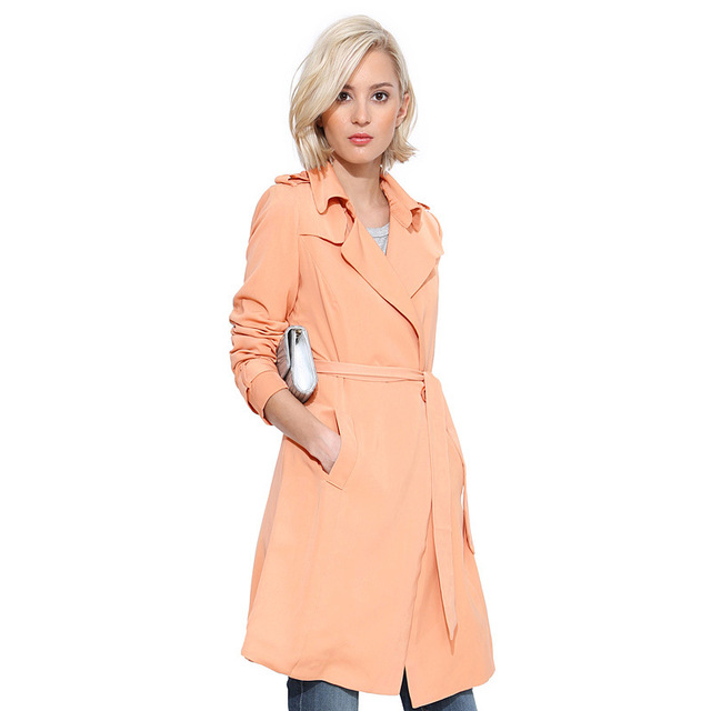 2016 Autumn New Arrival Trench Coat Women Double-Breasted Waist belt Turn-Down Collar Medium Style Long Cotton Outwears D0455