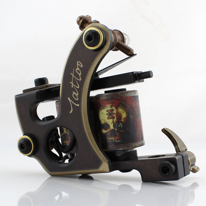 Recommend!!!One Professional Tattoo Machine Brass 10 Wrap Coils For Liner Supply  Handmade Tattoo Machine , Good Quality!Free S