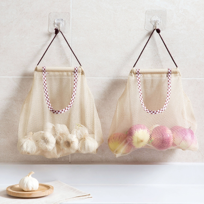 Kitchen Storage Bag Bathroom Organizer Accessories Mesh Grocery Bag Drawstring Wall Hanging Bag Reusable Disposable