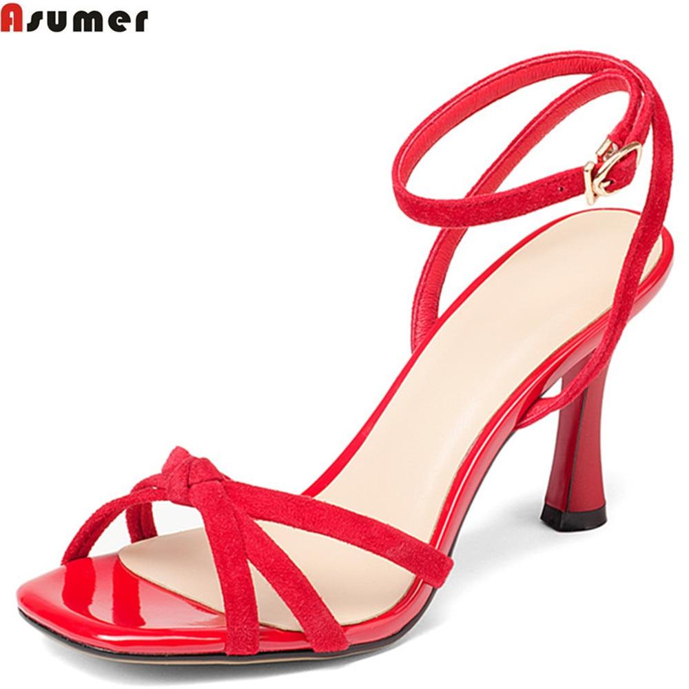 07141ff51c9776 De Cuir Boucle Femmes Noir Super Élégant Haute Talons Rouge Noir Sandales  Suédé Mariage Dames Asumer D'été Mode Hauts red Chaussures ...