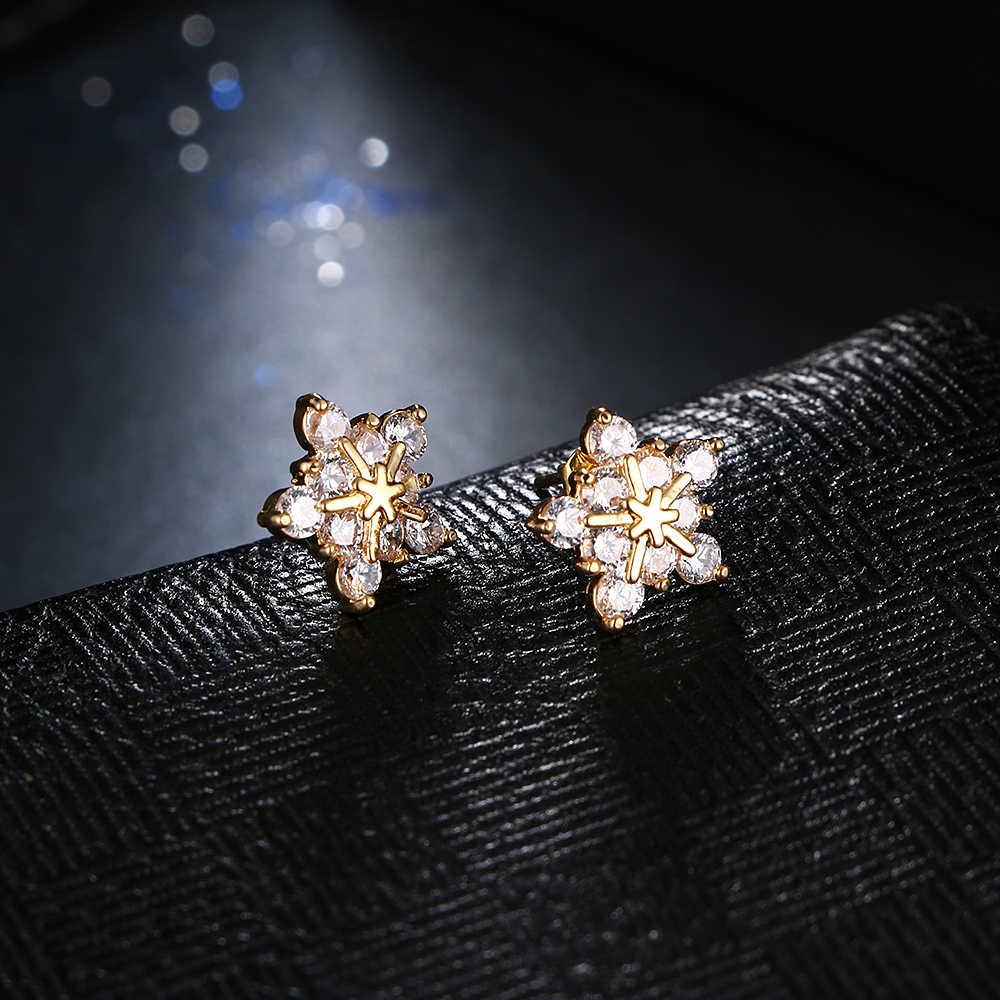 Emmaya, модные дешевые серьги золотого цвета с фианитами, прекрасный цветок, великолепные серьги-гвоздики для женщин, подарок на Новый год