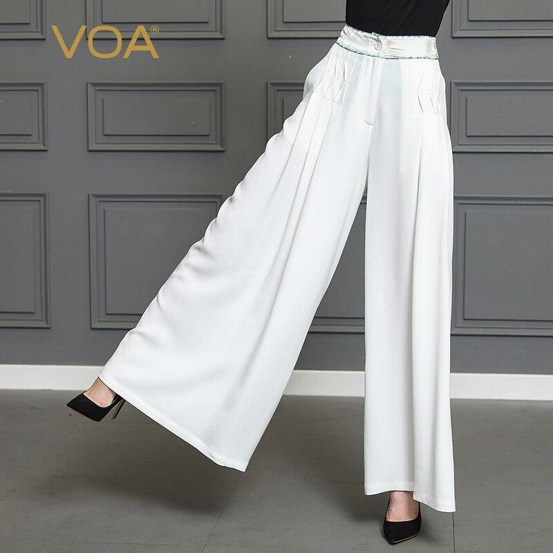 VOA тяжелый шелк офисные Широкие штаны однотонные белые длинные брюки для женщин; Большие размеры 5XL свободные Повседневное одноцветное Крат