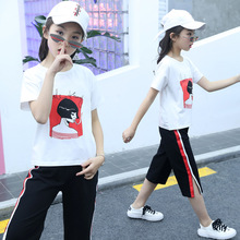 girls clothes Girls suit summer  casual children short-sleeved T-shirt seven points pants childrens two-piece