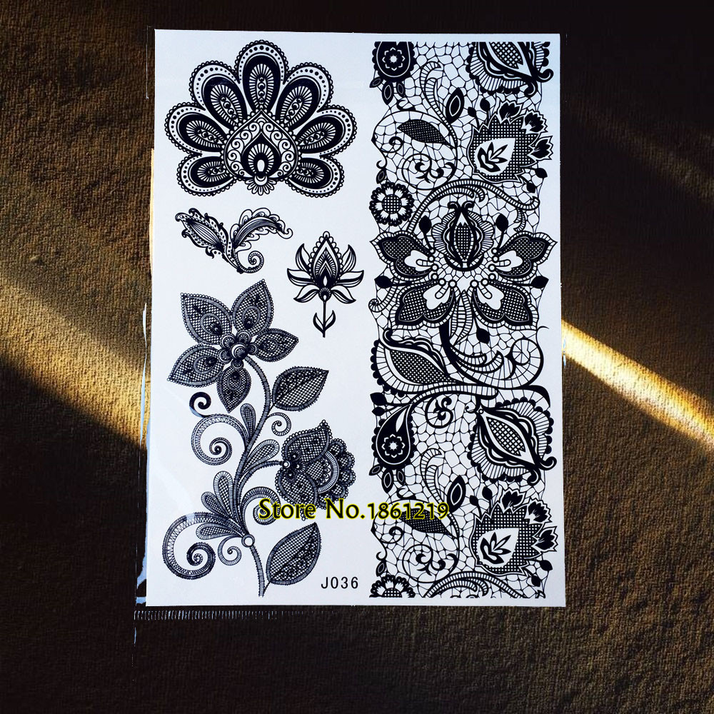 1PC Lace Henna Large Flower Tattoo Stickers For Girls