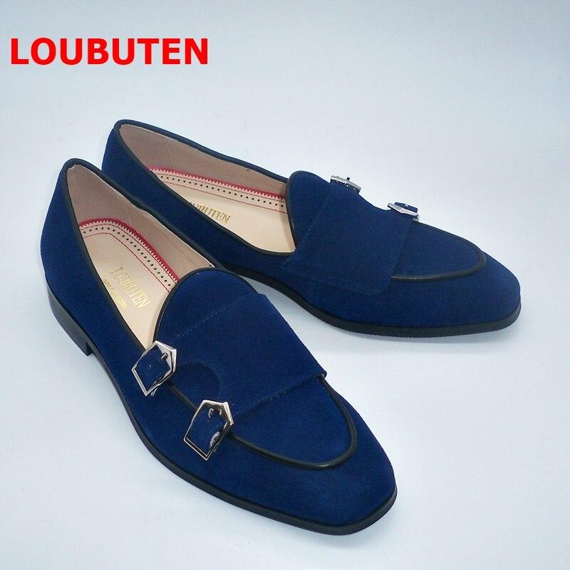 Hommes Marine De Loubuten Moine Double Sangle Slip On Picture As Nouvelle Bleu Daim Cuir Chaussures Luxe Fumeurs Mocassins Casual Main En n8mwN0