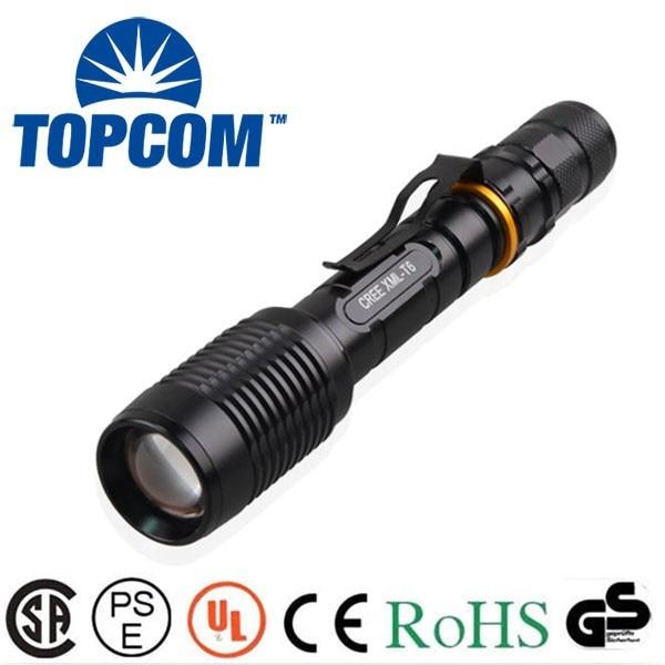 [Ücretsiz gemi] TopCom Yeni geldi Yüksek güçlü 5000 lümen fener Cree XML T6 Büyük LED Taktik Polis Torch Fener TP1824