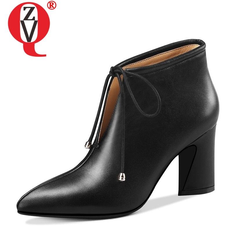 ZVQ date populaire en cuir véritable bout pointu haute étrange style croisé à lacets chaussons d'hiver mode sexy chaussures de fête-in Bottines from Chaussures    1