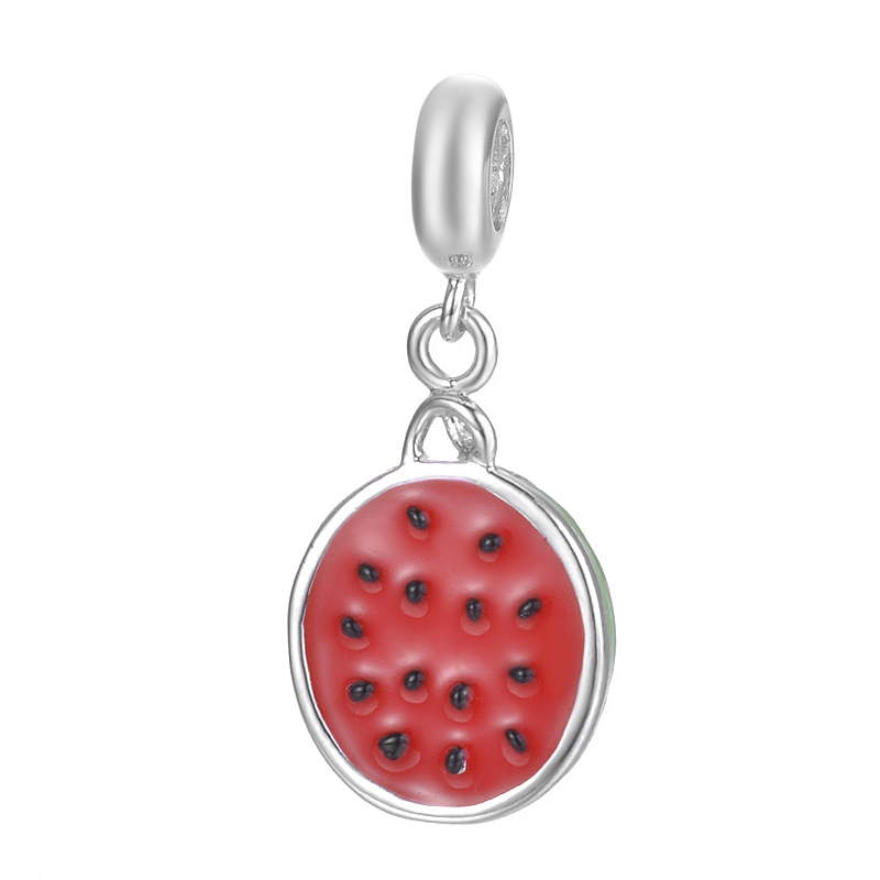 European Style Handmade Fruit Watermelon Design Pendant Jewelry For Bracelet Or Necklace S925 Sterling Silver Charm
