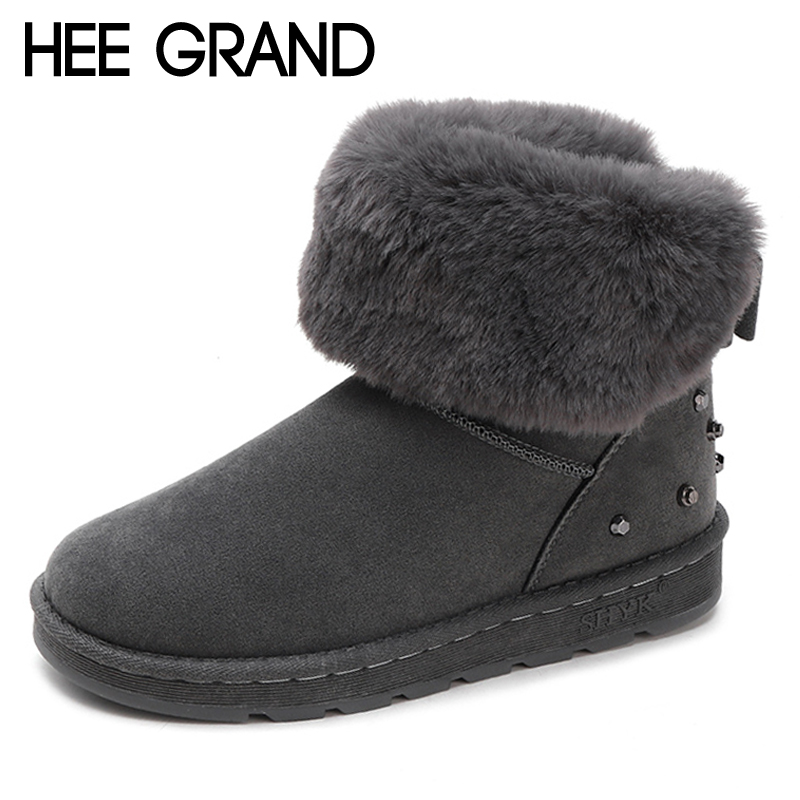 HEE GRAND Rivet Women Snow Boots Fur Inside Ankle Boots Winter Warm Shoes Women Slip On Platform Suede Girls Snow Boots XWX6941 zorssar 2017 new classic winter plush women boots suede ankle snow boots female warm fur women shoes wedges platform boots