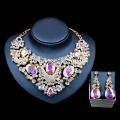 Lan palace parure bijoux femme jewelry necklace sets  Rhinestone necklace and earrings for wedding six colors free shipping
