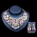 Lan palacio parure femme bijoux collar de la joyería establece Rhinestone collar y los pendientes para la boda de seis colores envío libre