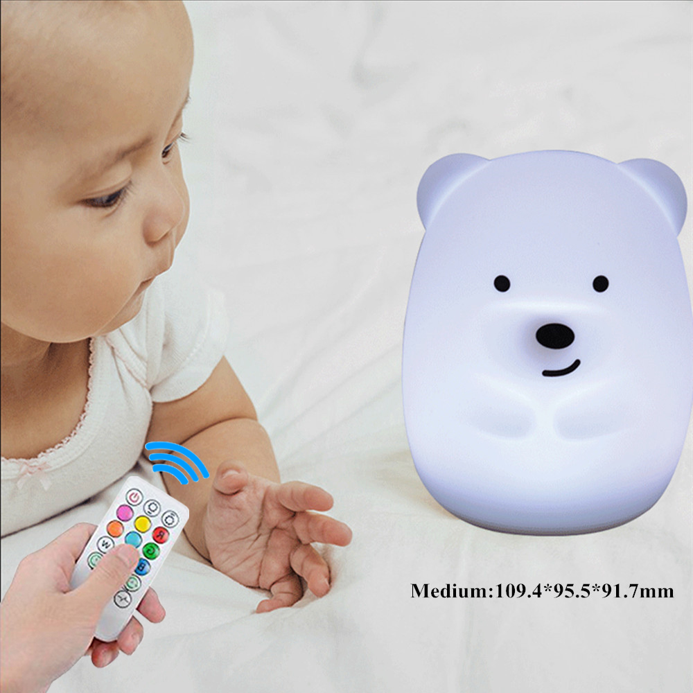 Bear Dog Monkey Fox LED Night Light Remote Control Timer Touch Sensor 9 Colors USB Charging Silicone Children Baby Bedside Lamp