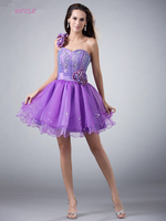 Lavender 2019 Party Homecoming Dresses A line One shoulder Short Mini Organza Flowers Crystals Elegant Cocktail Dresses