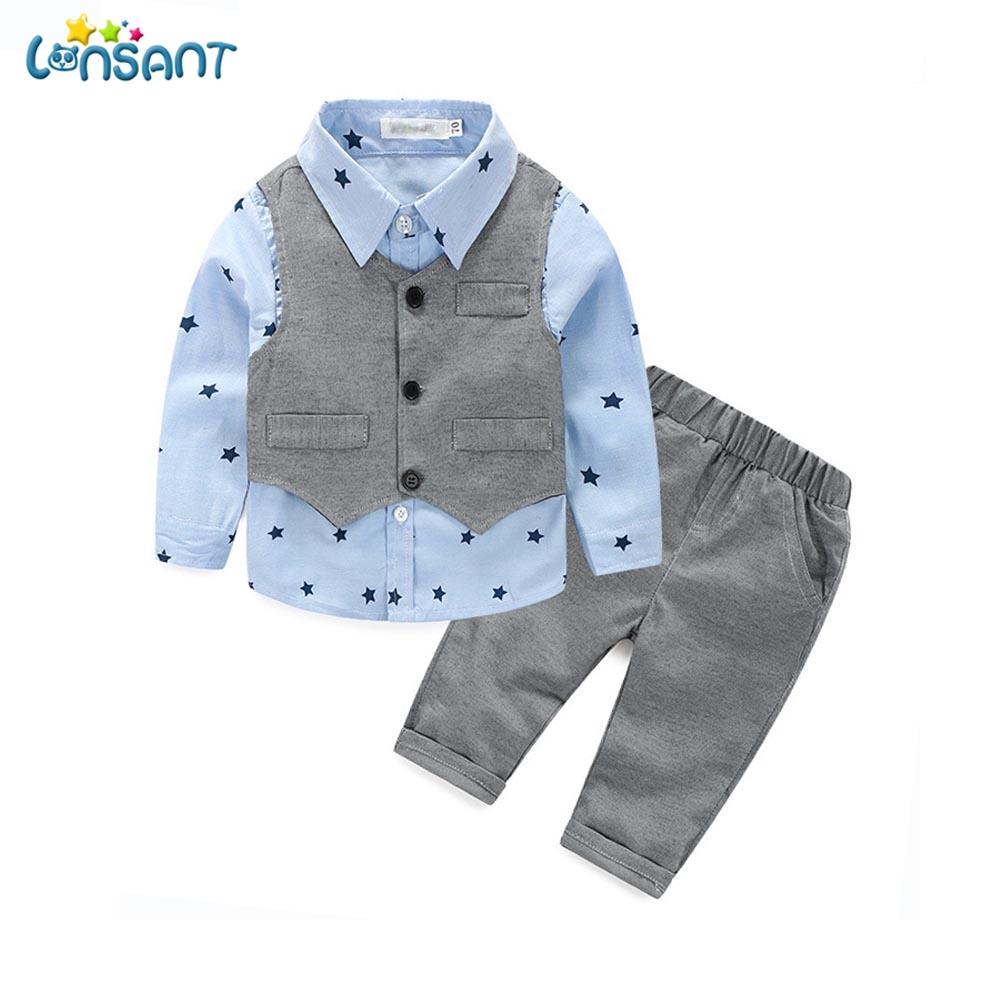 LONSANT Baby Boy Clothes 2017 Gentleman Clothing Vest Shirt Pants Children Clothing Baby Kids Clothes Set Dropshipping 6-24M baby boy clothes suits vest plaid shirt pants 3pcs set party formal gentleman wedding long sleeve kid clothing set free shipping