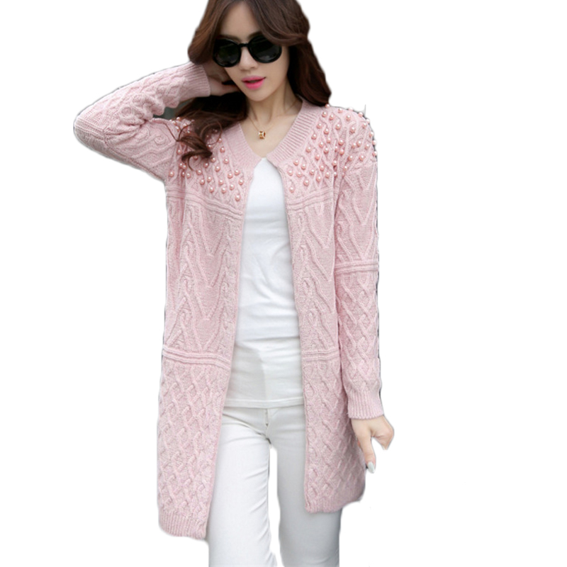 Women Crochet Tops Fashion Women Long Sleeve Cardigans Autumn Winter Shoulder Beading Knitted Sweaters Rebecas Mujer