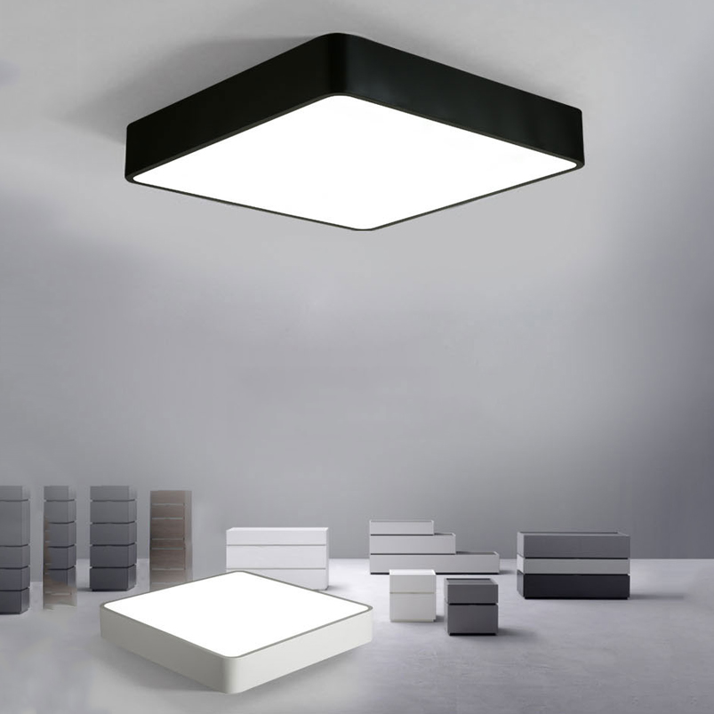 Modern LED Ceiling Lights Black White Square Office Light With ...
