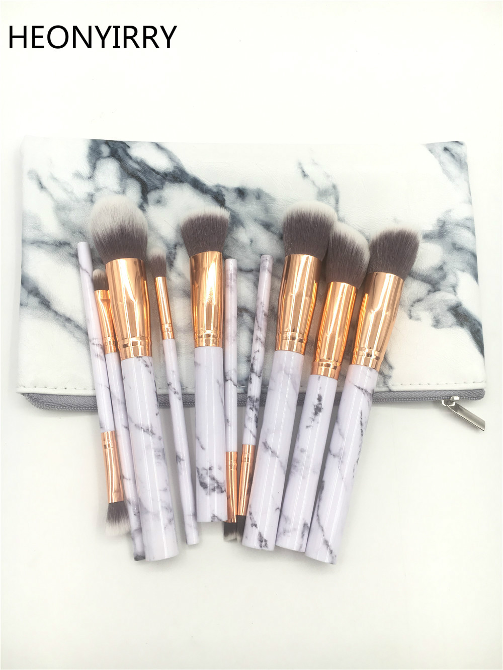 10pc Marble Makeup Brushes Soft Makeup Brush Set Foundation Powder Brush Beauty Cosmetic Marble Make Up Tools with Holder Bag