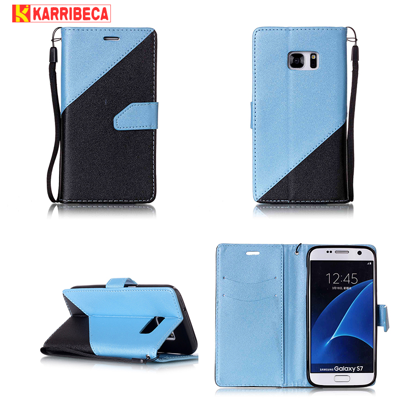 Karribeca Flip PU kožená pouzdra pro Samsung Galaxy S7 pouzdro combo duální barvy peněženka krycí taška Samsung S7 coque etui kryt fundas