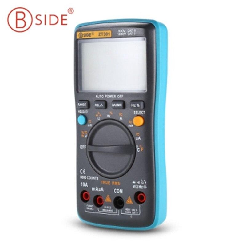 BSIDE ZT301 ZT302 Chaude Numérique LCD Multimètre Électrique De Poche Tectep Vrai RMS Auto Gamme Multimetro 8000/9999 Compte Esr Testeur