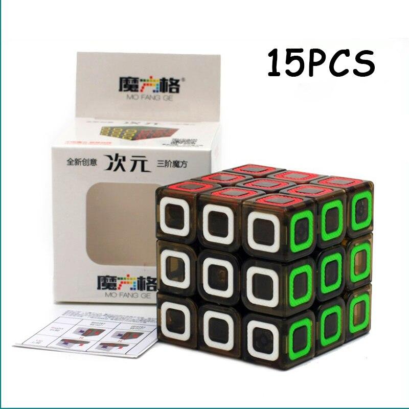 15 pièces QiYi Dimension Transparent cube magique noir 3x3x3 professionnel vitesse torsion Puzzle Cubo magico Non autocollant jouet pour enfants